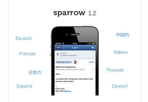 GmailにおすすめのiPhoneアプリ Sparrowが日本語化された!